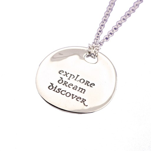 Explore Dream Discover - Sterling Silver Quote Necklace from SilverGallery.com