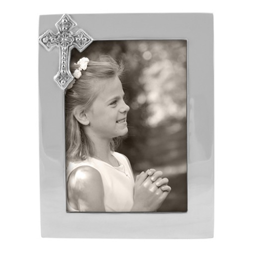 Mariposa Vertical Cross Picture Frame - 5 x 7 - Engrave it at SilverGallery.com