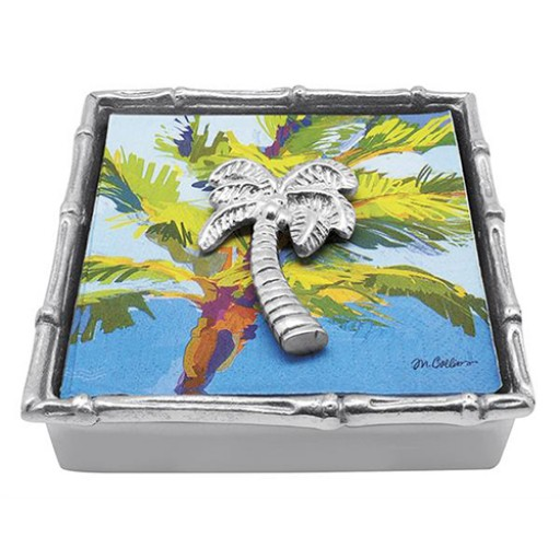 Mariposa Bamboo Napkin Holder with Palm Tree Weight - Available from SilverGallery.com