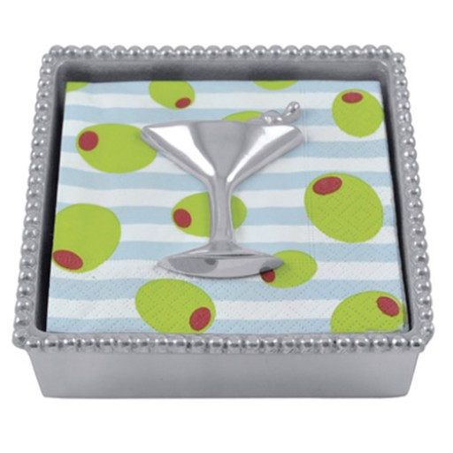 Mariposa Beaded Napkin Box w/Cocktail Glass Weight