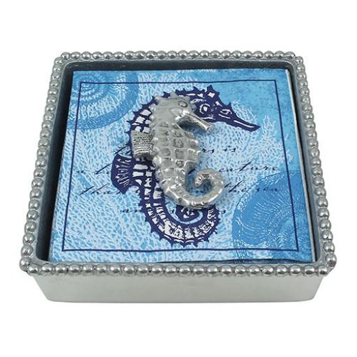 Mariposa Beaded Napkin Box w/Seahorse Weight