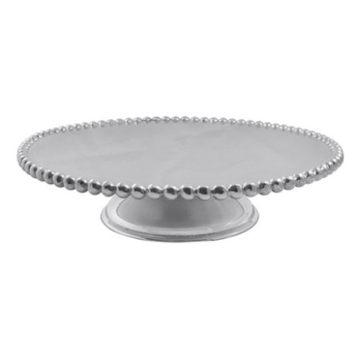 Mariposa Pearled Cake Stand - Have it engraved at SilverGallery.com