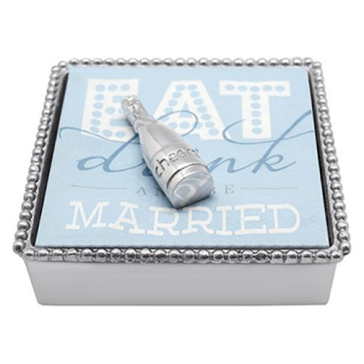 Mariposa Napkin Box with Champagne Bottle Weight