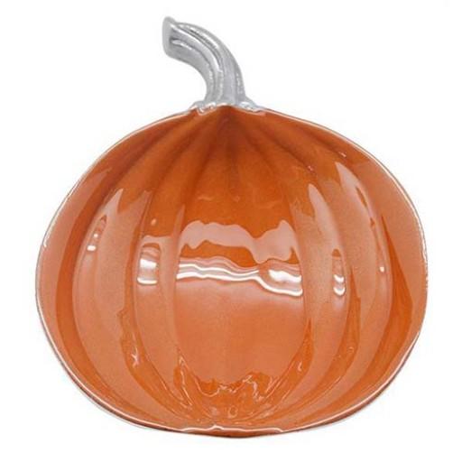 Mariposa Orange Enamel Pumpkin Dish - Available from SilverGallery.com