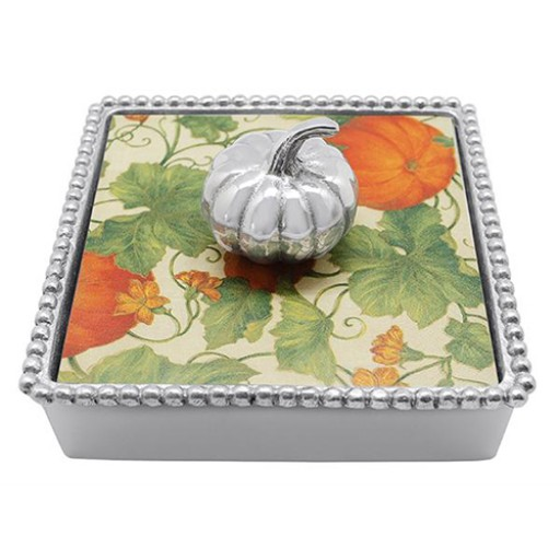 Mariposa Napkin Box with Pumpkin Weight - Available from SilverGallery.com