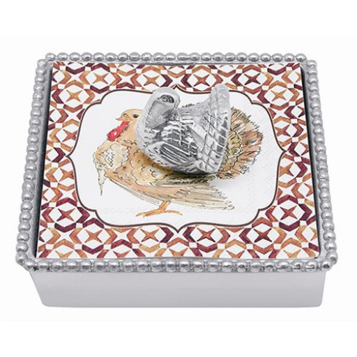 Mariposa Thanksgiving Napkin Box with Turkey Weight - Available from SilverGallery.com