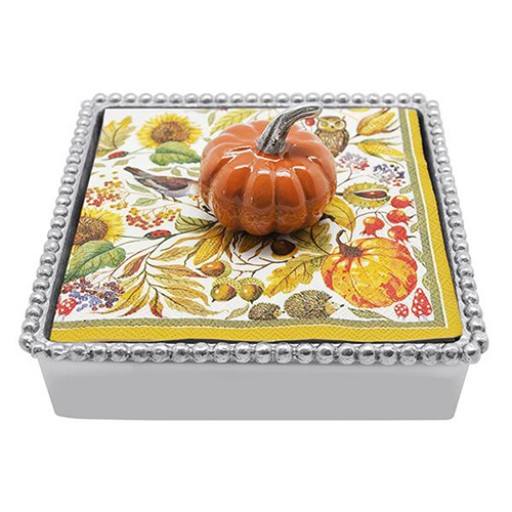 Mariposa Napkin Box with Orange Pumpkin Weight - Available from SilverGallery.com