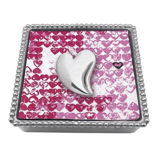 Mariposa Beaded Napkin Box w/Heart Napkin Weight - Available from SilverGallery.com