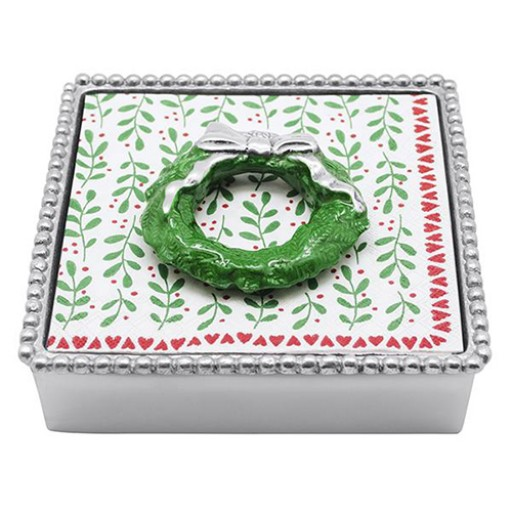 Mariposa Napkin Box with Christmas Wreath Weight - Available from SilverGallery.com