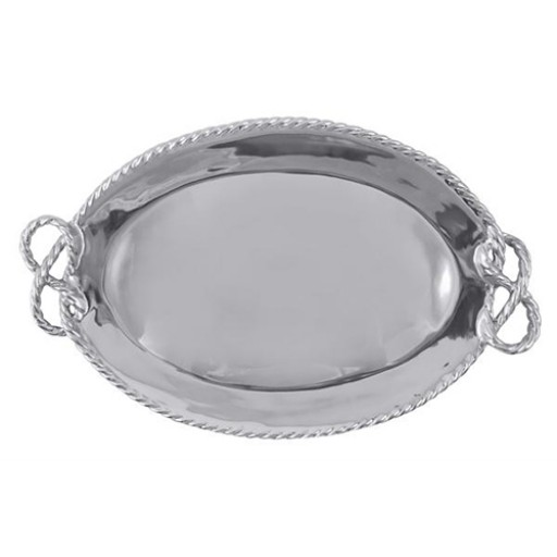 Mariposa Rope Oval Serving Tray - Engrave it at SilverGallery.com