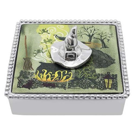 Mariposa Halloween Napkin Box with Witch Hat Napkin Weight - Available from SilverGallery.com