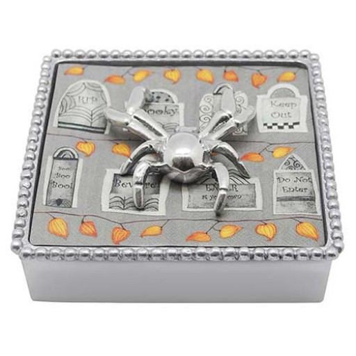 Mariposa Halloween Napkin Box with Spider Napkin Weight - Available from SilverGallery.com