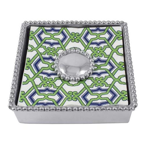 Mariposa Jacki Pearled Beaded Napkin Box - Available from SilverGallery.com