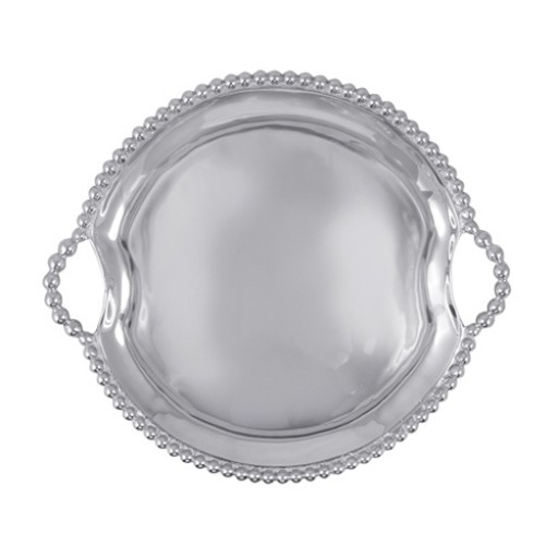 Mariposa String of Pearls Round Tray w/Handles - Engrave it at SilverGallery.com