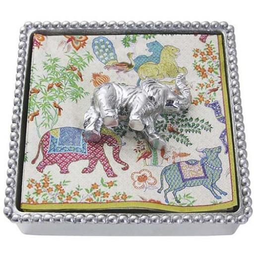 Mariposa Elephant Napkin Box - Available from SilverGallery.com