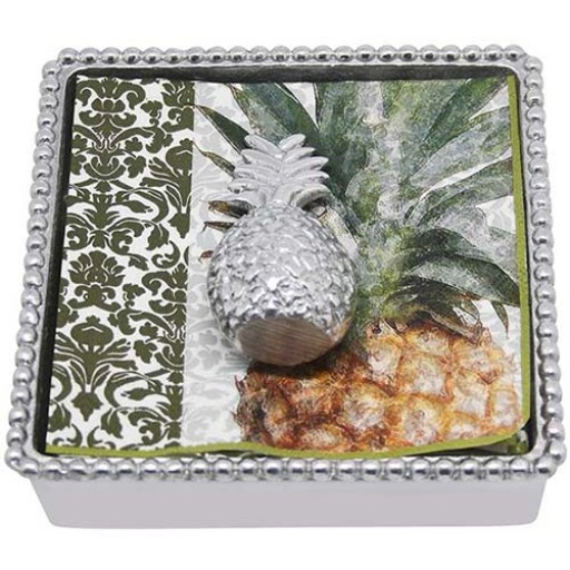 Mariposa Pineapple Napkin Box - Available from SilverGallery.com