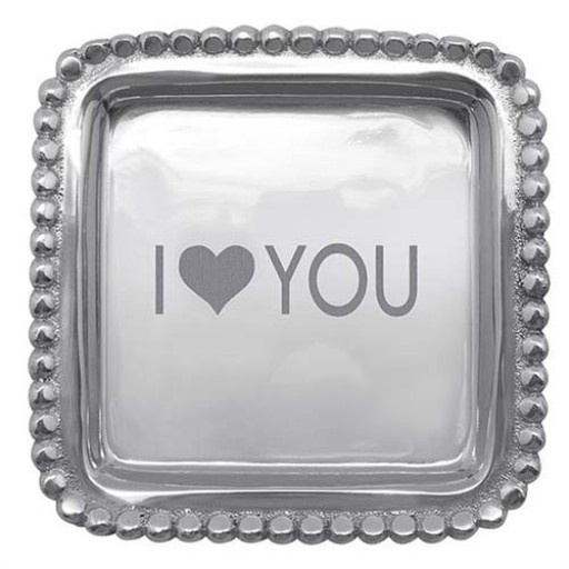 "Mariposa ""I Heart You"" Beaded Square Tray - Available from SilverGallery.com"