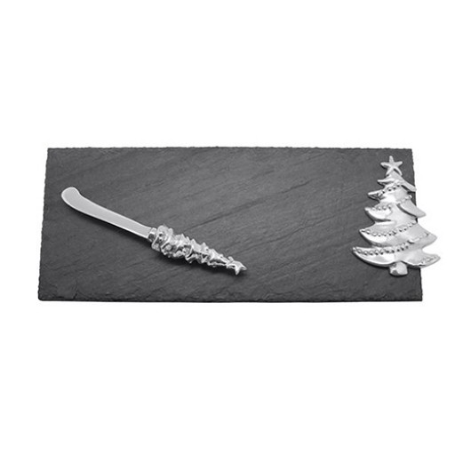 Mariposa Slate Christmas Tree & Spreader Cheese Set - Available from SilverGallery.com