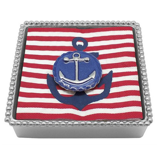 Mariposa Twist Napkin Box w/Blue Anchor Emblem Weight - Available from SilverGallery.com