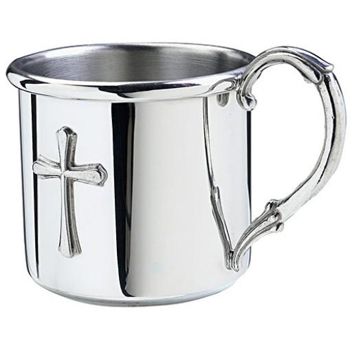 Salisbury Easton Pewter Baby Cup with Cross