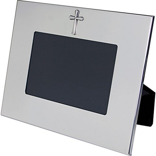 Salisbury Pewter Wide Border Horizontal Frame w/Cross - 4 x 6 - Engrave it at SilverGallery.com
