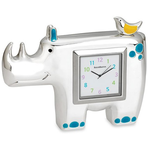 Reed & Barton Jungle Parade Rhino Children's Clock - Available from SilverGallery.com