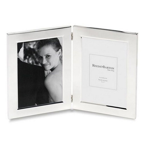 Reed & Barton Classic Hinged Double Frame - 5 x 7 - Engrave it at SilverGallery.com