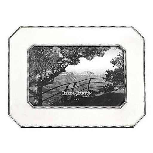 Reed & Barton Heritage Pewter Chamfered Edge Frame - 4 x 6 - Engrave it at SilverGallery.com