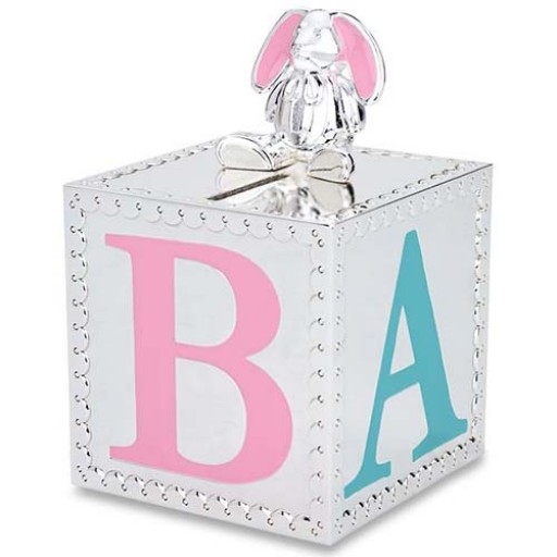 Reed & Barton Gingham Bunny Baby Bank - Available from SilverGallery.com