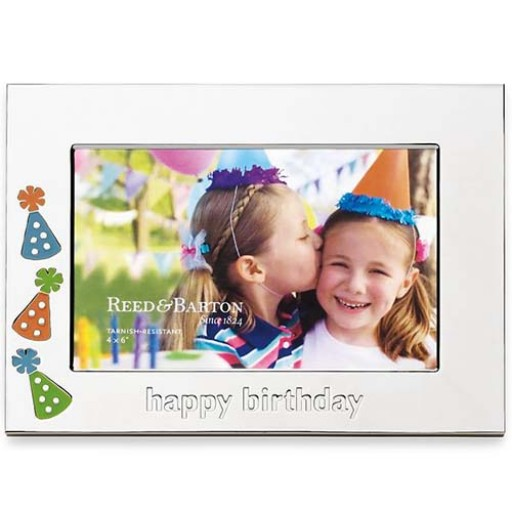 Reed & Barton Let's Celebrate Happy Birthday Picture Frame - 4 x 6 - Engrave it at SilverGallery.com