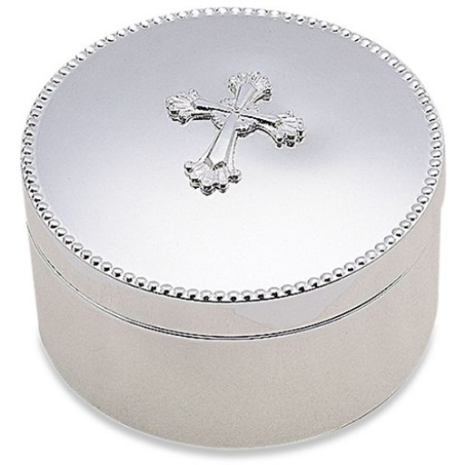 Reed & Barton Abbey Cross Keepsake Box - Round - Available from SilverGallery.com