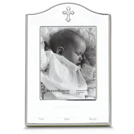 Reed & Barton Abbey Cross Birth Record Picture Frame - 4 x 6 - Engrave it at SilverGallery.bom