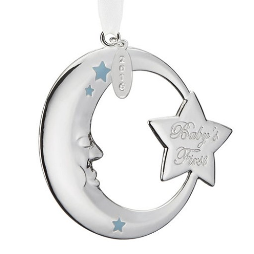Reed & Barton 2016 Baby's 1st Christmas Crescent Moon Ornament - Blue - Available from SilverGallery.com