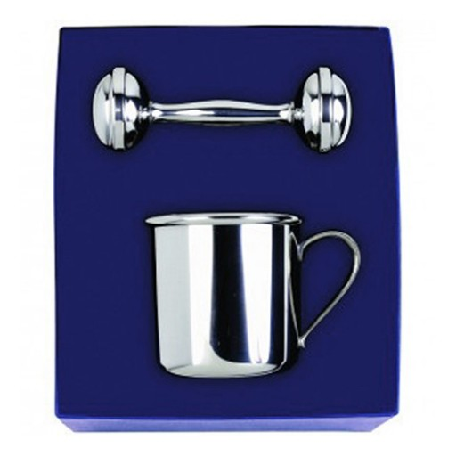 Salisbury Pewter Baby Cup & Rattle Gift Set - Engrave it at SilverGallery.com