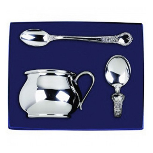 Salisbury 3-Piece Bulged Baby Cup Gift Set - Engrave it at SilverGallery.com