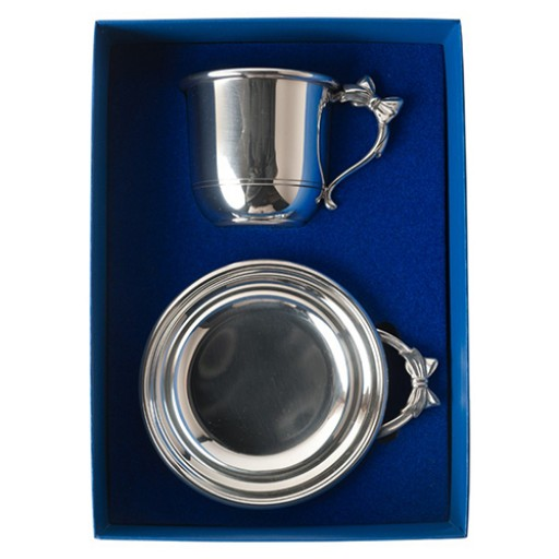 Salisbury Pewter Bow Handle Cup & Porringer Baby Gift Set - Engrave it at SilverGallery.com