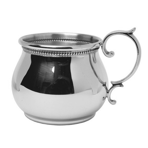 Salisbury Pewter Beaded Bulged Baby Cup - Engrave it at SilverGallery.com