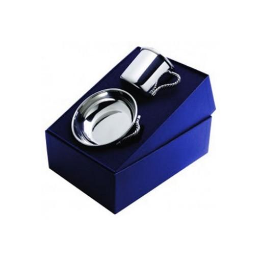Salisbury Pewter Rope Handle Cup & Porringer Baby Gift Set