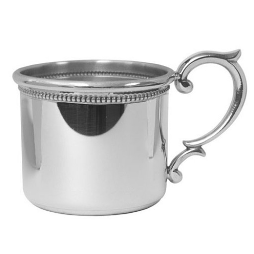 Salisbury Pewter Straight Edge Beaded Baby Cup w/Scroll Handle
