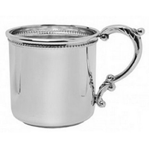 Salisbury Sterling Silver Scroll Handle Baby Cup w/Beaded Edge - Available at SilverGallery.com
