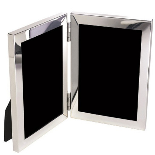 Salisbury Sterling Rectangle Sterling Silver Double Picture Frame - 3 x 4 - Available from SilverGallery.com