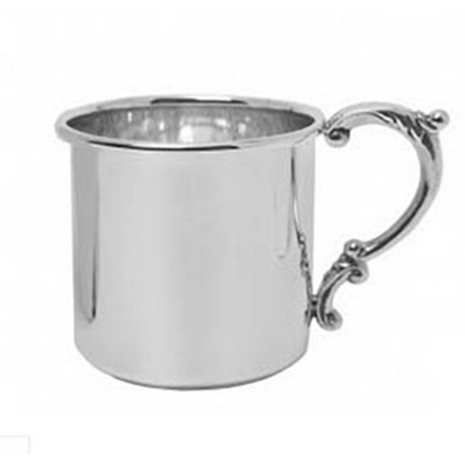 Salisbury Sterling Silver Baby Cup w/Scroll Handle - Available from SilverGallery.com