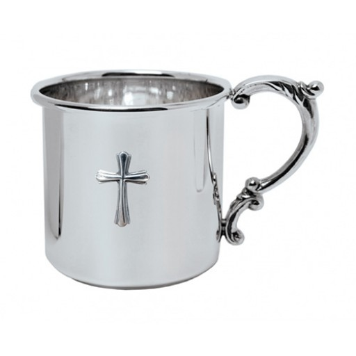 Salisbury Sterling Silver Scroll Handle Baby Cup w/Cross - Available from SilverGallery.com