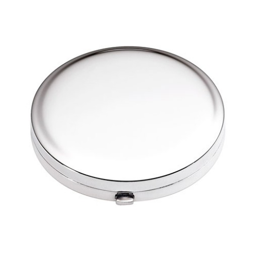 Sterling Silver Round Compact Purse Mirror w/Sift Puff
