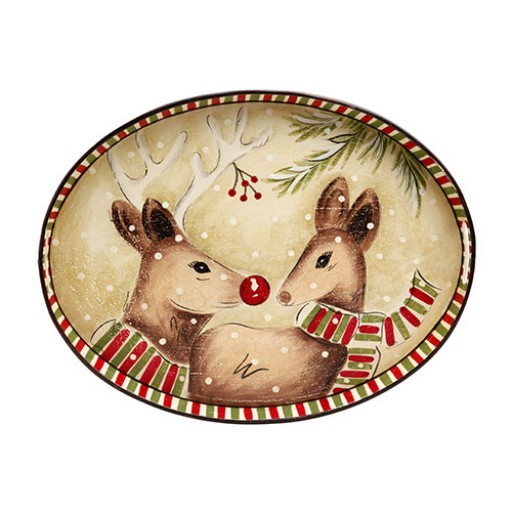 Casafina Deer Friends Oval Toleware Tray - Available from SilverGallery.com