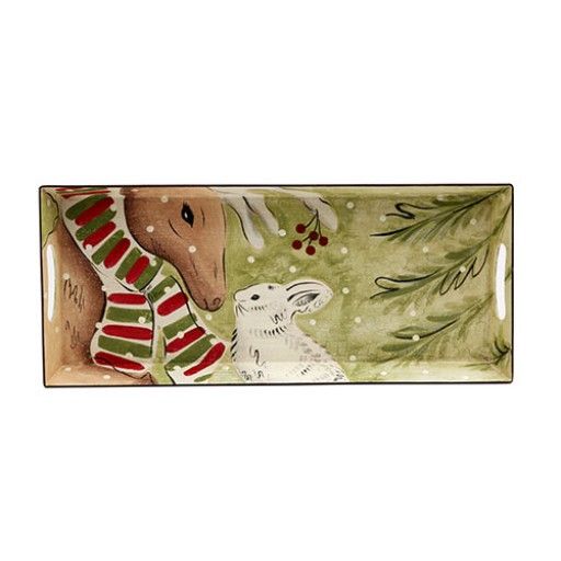 Casafina Deer Friends Rectangular Toleware Tray - Available from SilverGallery.com