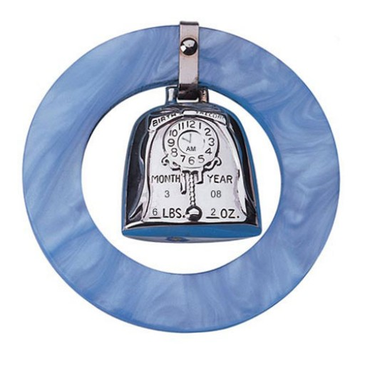 Web Sterling Birth Record Teething Ring - Blue - Engrave it at SilverGallery.com