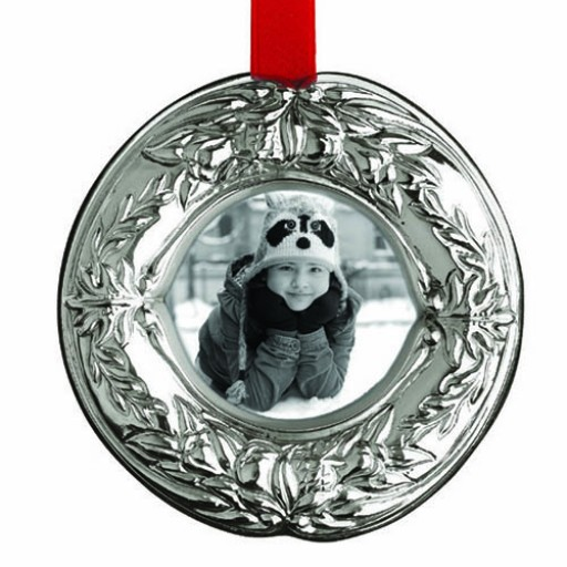 Reed & Barton Holiday Wreath Sterling Silver Picture Frame Ornament - Available from SilverGallery.com