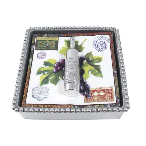 Mariposa Beaded Napkin Box with Wine Weight