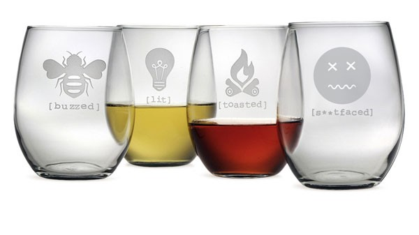 tipsy ii stemless wine glass collection